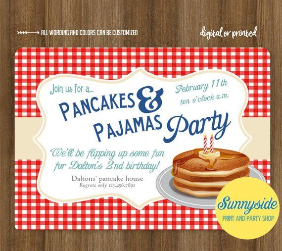 b05d104c186c Boys Pancakes and Pajamas birthday party invitation