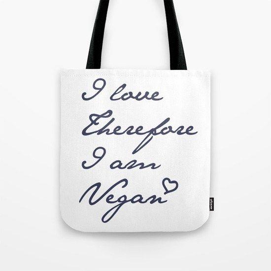 I love therefore I 'm vegan feliratos vászontáska – VegaNinja Webshop