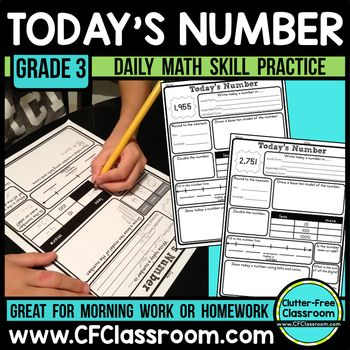 Number of the Day 3rd Grade Today's Number / Number of the Day 3rd Grade Common Core Daily Math Review This product contains 183 printable pages to make it easy to review important math skills on a regular basis. I also have a version available for 2nd and 4th grade if you need to differentiate within your