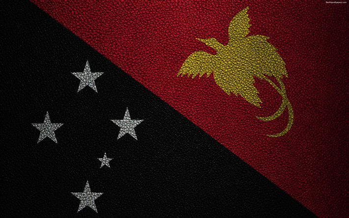 Download wallpapers Flag of Papua New Guinea, 4k, leather texture, Oceania, Papua New Guinea, world flags