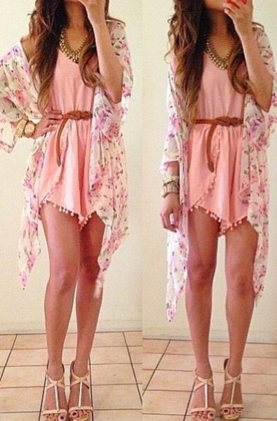 Floral light kimono and pink playsuit so girly and feminine x find more women…