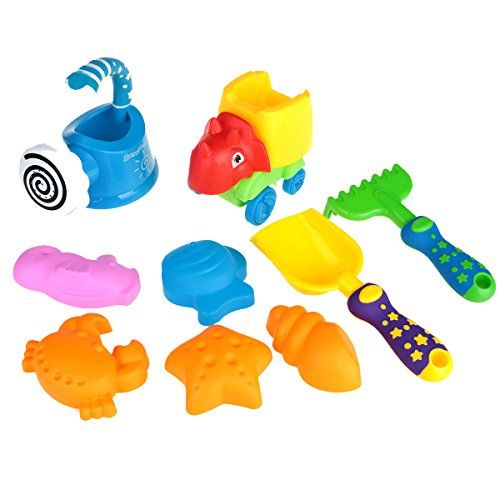 Kids Sand Toys Set with Net Bag Storage: Bucket, Tools Shovel, Rake, Watering Can, Molds Crab, Sea Horse, Fish, Shell, Toy Car- 9 pcs