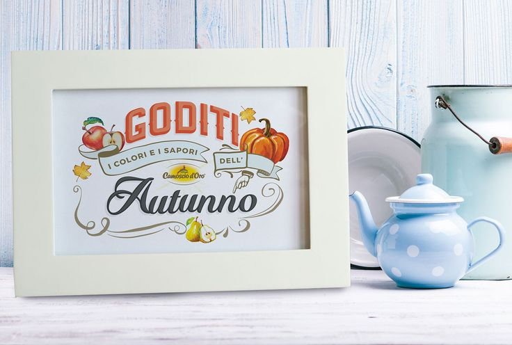 Behance :: Editing Autumn lettering   lettering piece was done for my client Camoscio d'Oro (delicious cheese). Once the lettering was done and approved I'd tried it in different settings and environments, always related with food topic. In in this example picuture frame with bright cold winter light in a country side house