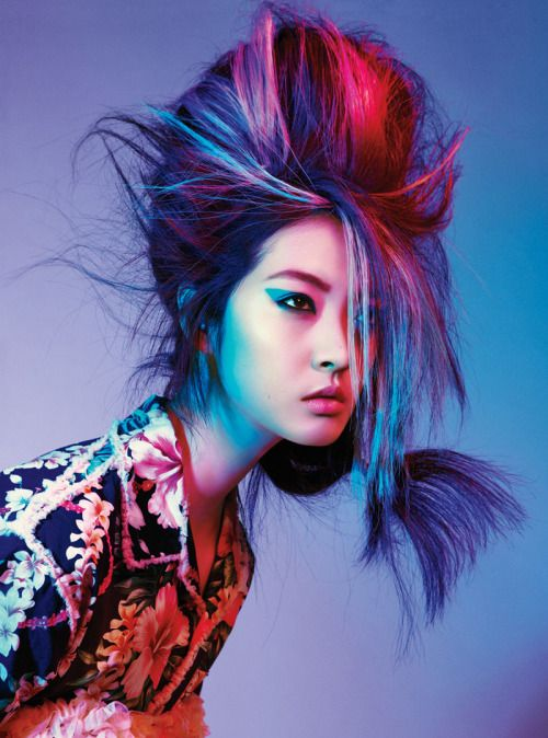 Title: Electric Youth Magazine: Teen Vogue March 2012 Model: So Young Kang Photographer: Sebastian Kim Stylist: Nancy Rohde Editorial Hair, Beauty Editorial, Editorial Fashion, Angelo Seminara, Sebastian Kim, Corset, Multicolored Hair, Colorful Hair, Bright Hair