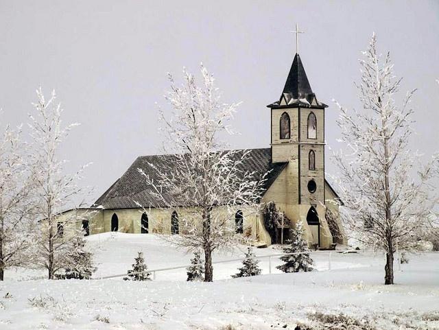 Old church in winter
