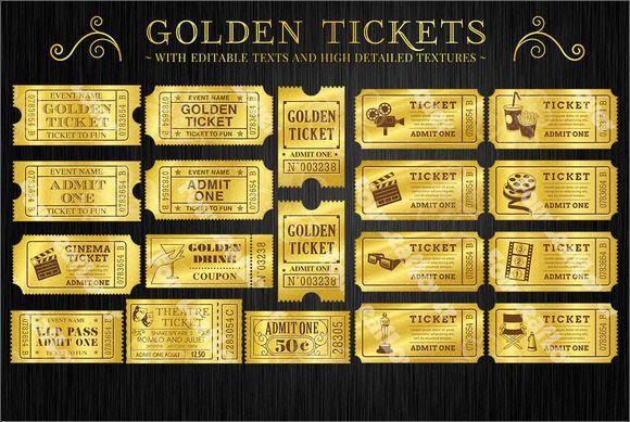 Golden Movie Ticket Template