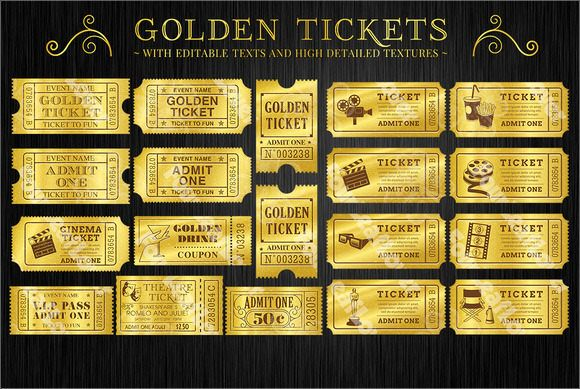 Golden Movie Ticket Template