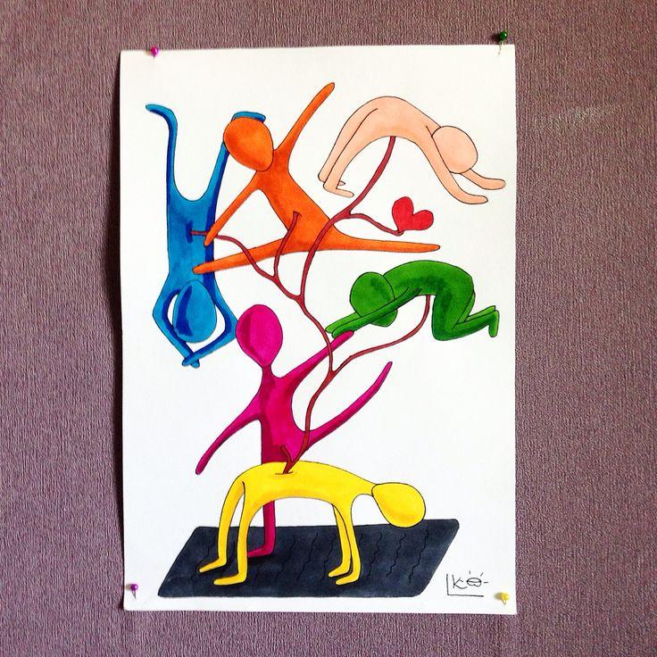 #моя #аштанга #виньяса #йога  висит на стене и стимулирует на #занятия , #особенно #идея сесть на #шпагат 🙈 #быть #может и вас простимулирует?!? #badartist_larakaluga