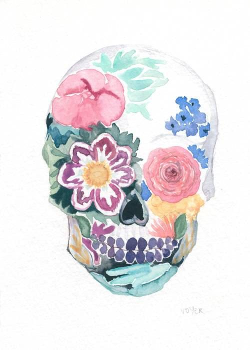 Day of the Dead Watercolor Sugar Skull 5 x 7 Giglee Print on Archival Watercolor Paper