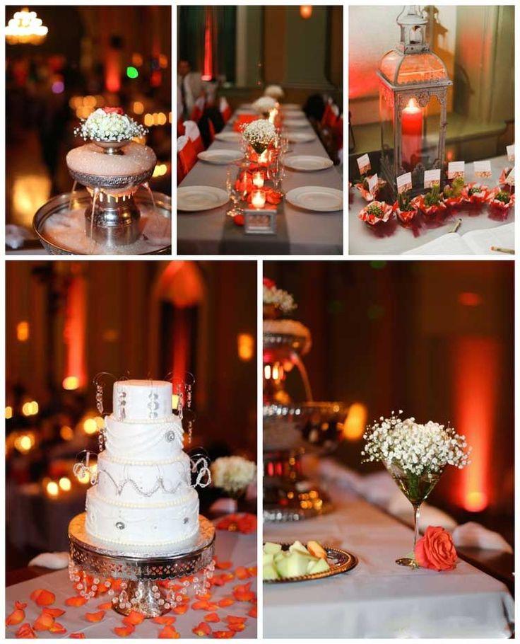 Orange Uplighting for Fall Weddings | Rent online for $19/each + free shipping both ways nationwide at www.RentMyWedding.com/Rent-Uplighting