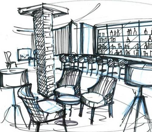 Bar lounge Sketch by Garry Cohn