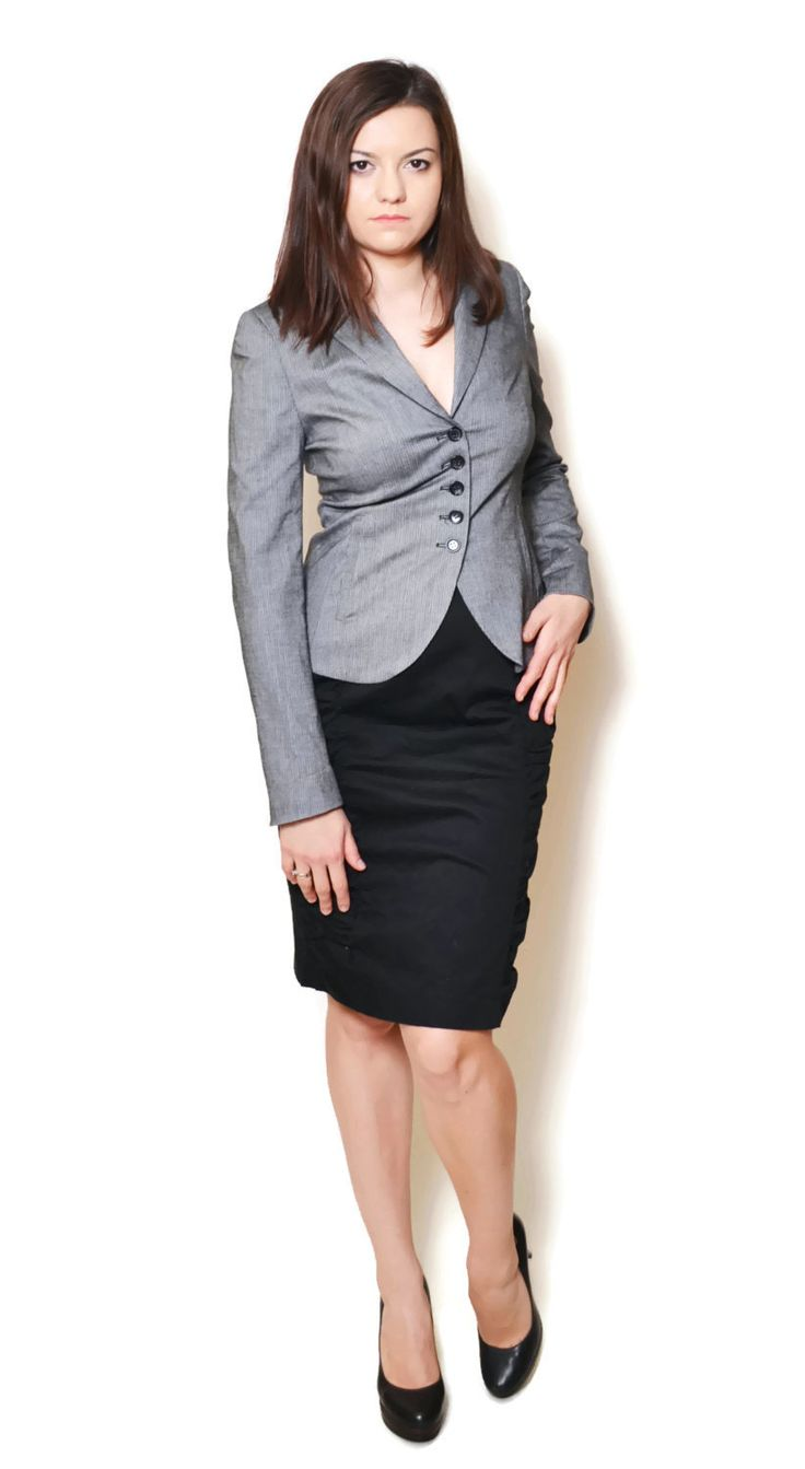 grey blazer outfit work business  US$19.95