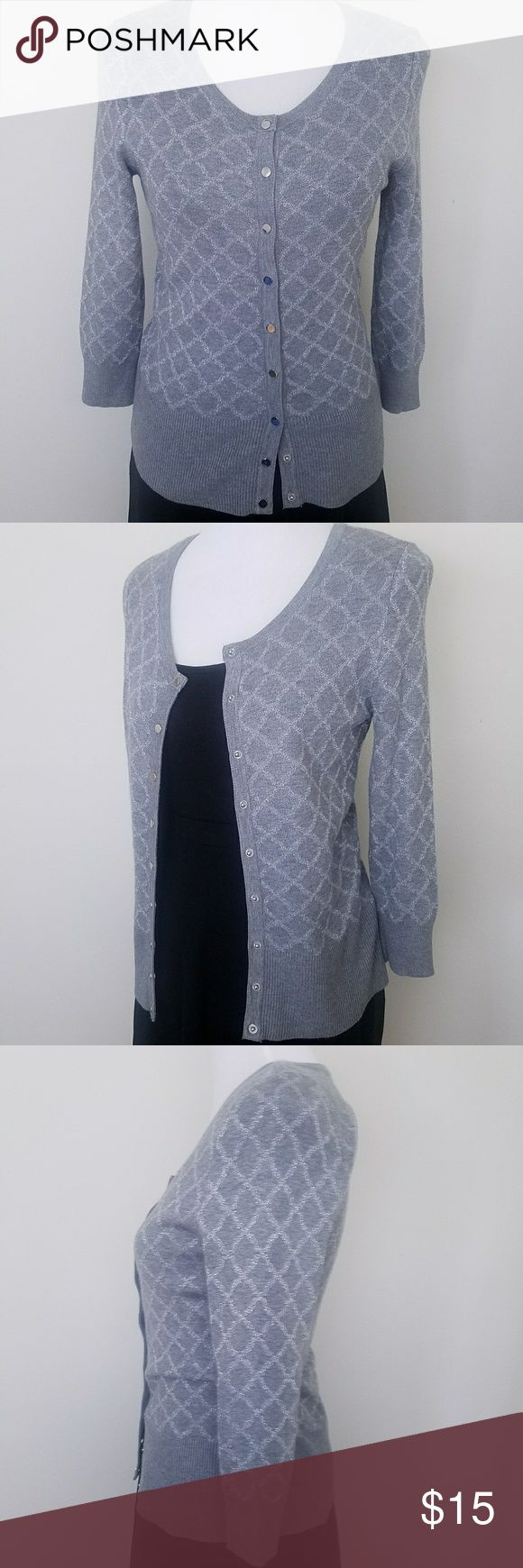 White House Black Market Gray & Silver Cardigan Soft, lightweight gray cardigan with silver diamond pattern and silver snap buttons. Great for layering in the office or for casual days when you want to dress better than your friends. White House Black Market Sweaters Cardigans