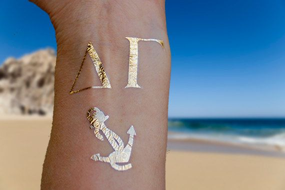 Sorority Tattoos Sorority Gifts Delta Gamma Gold by SkinJewels