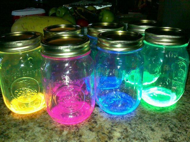 Redneck lanterns: (Mason Jar Glow~n~Dark Lights) Snap glow in the dark sticks, cut and pour into mason jar. Shake to coat jar ☺