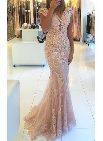 Charming V-Neck Cap Sleeves Lace Evening Gowns | Long Mermaid Tulle Prom Dress