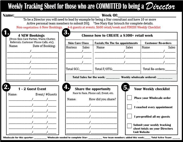 Mary Kay Tracking Sheets Print Director Tracking Sheet