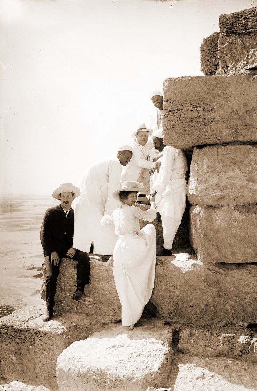 Egypt. Ascending the pyramids, circa 1900s