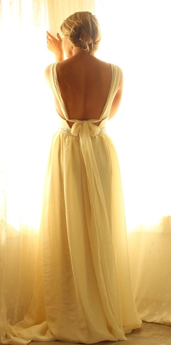Bohemian Tie Back Chiffon Wedding DressTullin by whiteromance, $850.00