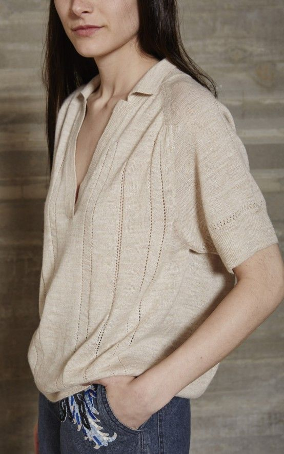 Short sleeve polo in our Fine Gauge Alpaca knit with open neck. Rib trim at neck, cuff and hem. Relaxed fit. #rachelcomey