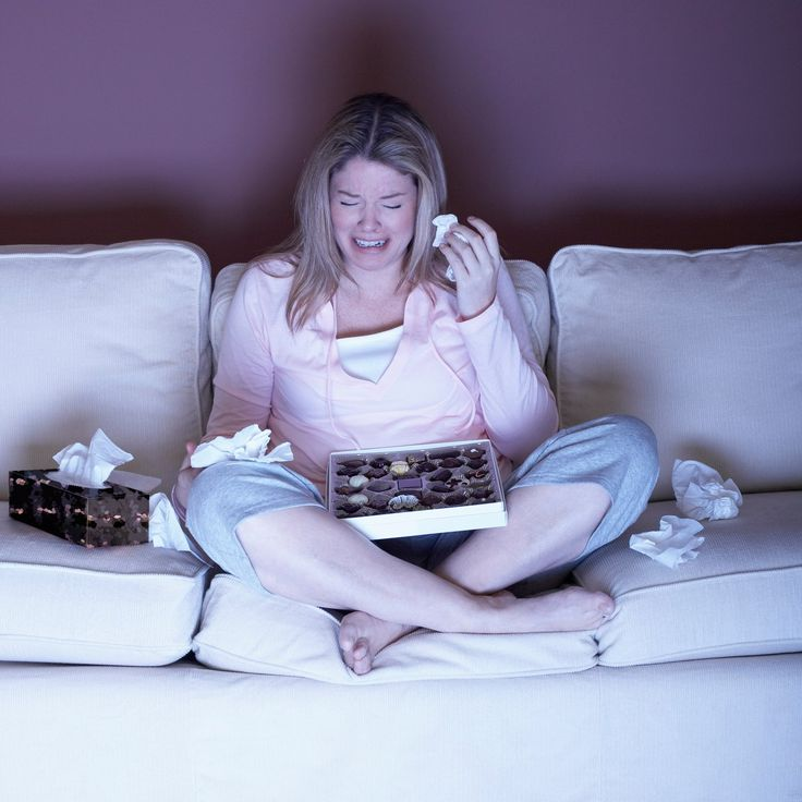 Image result for Woman with Chocolate Crying on Sofa