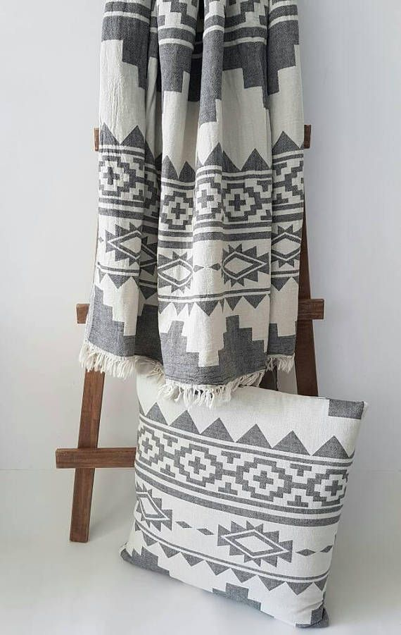 WOVEN cotton blanket throw in Aztec Motives  100 % Cotton blanket throw . Bohemian Home Coverlet. Cozy Home&Outdoor blanket. Blanket for Cozy and Happy Home!  Perfect for Boho Wedding !   Size : - 51x67 inches / 130x170 centimeter   Material :  - 100% Cotton  Color:  - black ( charcoal