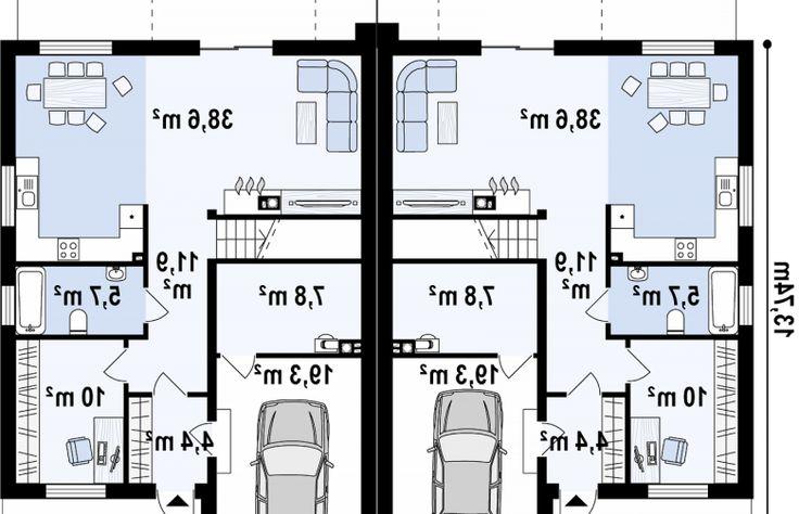 Projekt domu bliźniaczego Zb13 - rzut parteru
