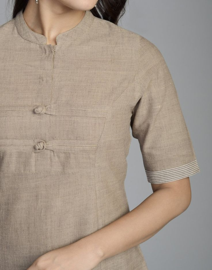 Cotton Khadi FabricLong KurtaWith BorderChinese Collar with Loop ButtonElbow SleevesP-LineHand Wash Separately in Cold Water