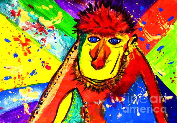 Monkey Pop Art by Fine Artist Julia Apostolova  This image is a print of original SOLD Acrylic Hand Made Pop Art ''Monkey''. The original Contemporary Pop Art modern painting is painted on gallery wrapped acid free canvas. Only fine quality art materials have been used. Final coat of fine art varnish was applied to preserve your investment against UV and dust. Signed and dated by the artist.The original Pop Art ''Monkey''has been sold, but Similar Painting Can Be Recreated.