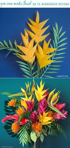 DIY Crepe Paper Heliconia Flowers - www.LiaGriffith.com #crepepaperrevival #crepepaperflowers #Paperflowertutorial #paperflowers #PaperFlower #paperFlowerBouquet