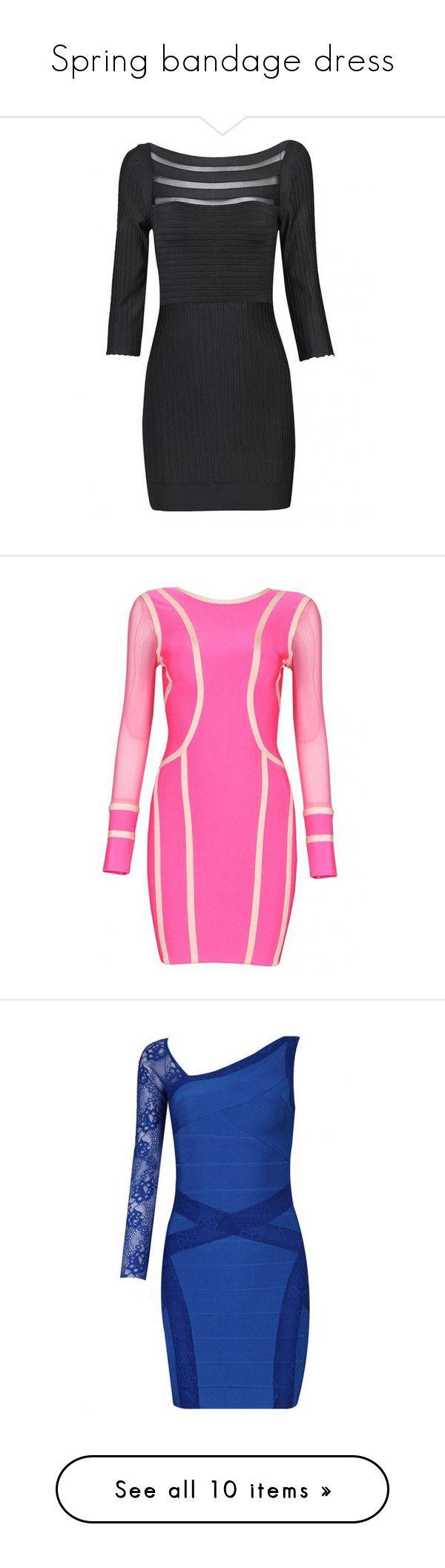 """Spring bandage dress"" by celebindress ❤ liked on Polyvore featuring dresses, striped dress, slim fit dress, slim fitting dresses, long sleeve striped dress, longsleeve dress, long sleeve day dresses, pink long sleeve dress, long sleeve bandage dress and pink mesh dress"