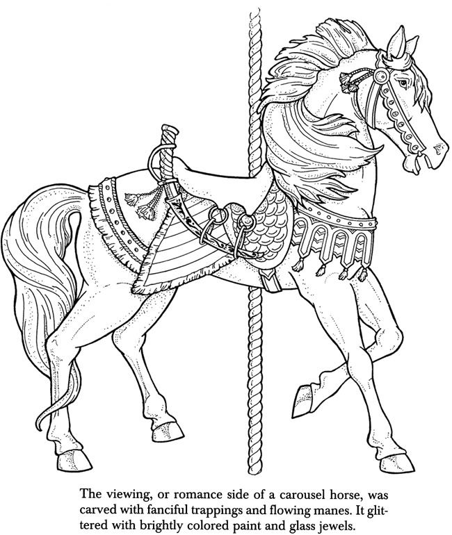 17 best images about carousel horses on pinterest disney for Carousel horse coloring page