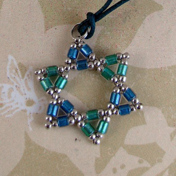 STAR of DAVID beadwoven necklace miyuki by downtoearthcreations