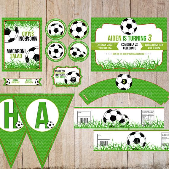 Soccer birthday party kit Printable party di PrintableMiracles, $25.00