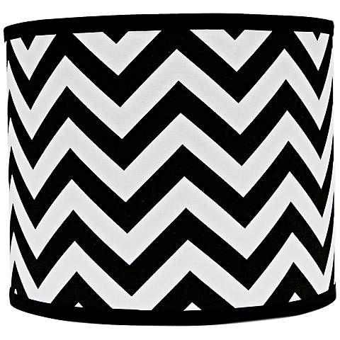 Black and White Chevron Drum Lamp Shade 12x12x10 (Spider) - #5G776 | Lamps Plus