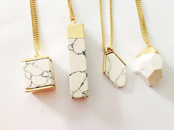2015 Hot Style été Trendy Brand Design mode géométrique blanc Faux marbre pierre collier pendentif pour les femmes dans Pendentifs de Bijoux sur AliExpress.com | Alibaba Group