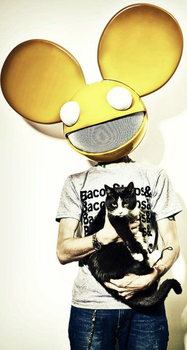 deadmau5 and meowingtons with his bacon shop or somthing shirt# cats#mau5#nowonder