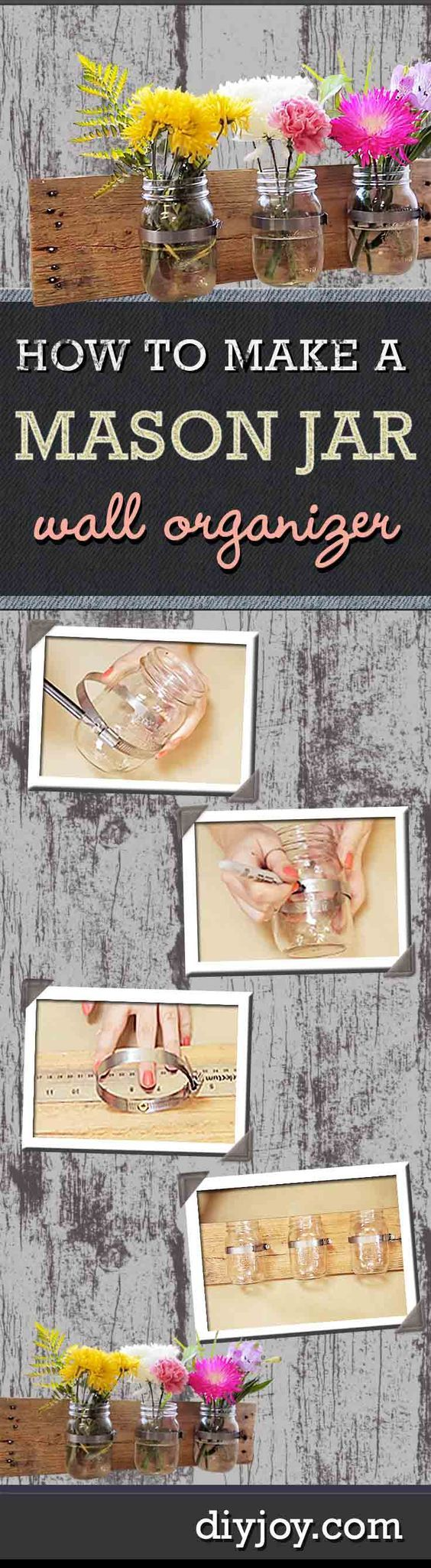 DIY Rustic Home Decor on a Budget   Storage Solutions for the Home   Mason Jar DIY Wall Organizer   DIY Projects and Crafts by DIY JOY: