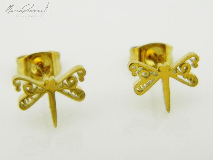 Gustowne, złote ważki - w sam raz na lato! www.zwegrodzki.pl/pl/p/Kolczyki-pozlacane_KI1436/6446  #kolczyki #ważki #złoto