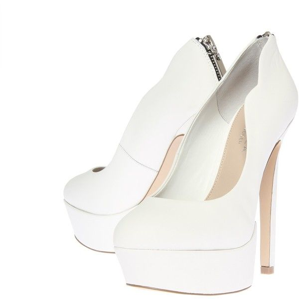 Carvela Kurt Geiger Glory White ($38) ❤ liked on Polyvore featuring shoes, pumps, white, white high heel pumps, white platform shoes, high heel pumps, white platform pumps and leather platform pumps