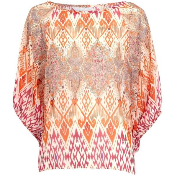 Orange Aztec print top ($11) ❤ liked on Polyvore featuring tops, bohemian, women's clothing, red sheer top, batwing sleeve tops, red top, boat neck tops and chiffon tops