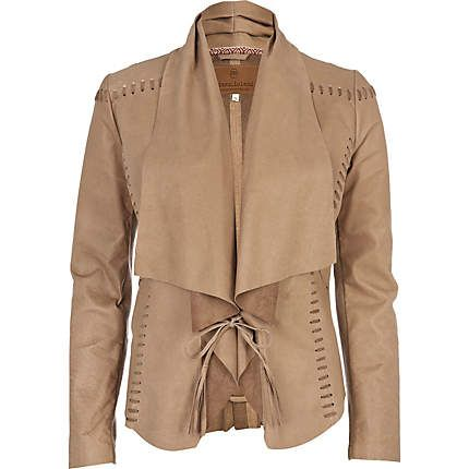light beige lace up fallaway leather jacket - leather / non-leather jackets - coats / jackets - women - River Island
