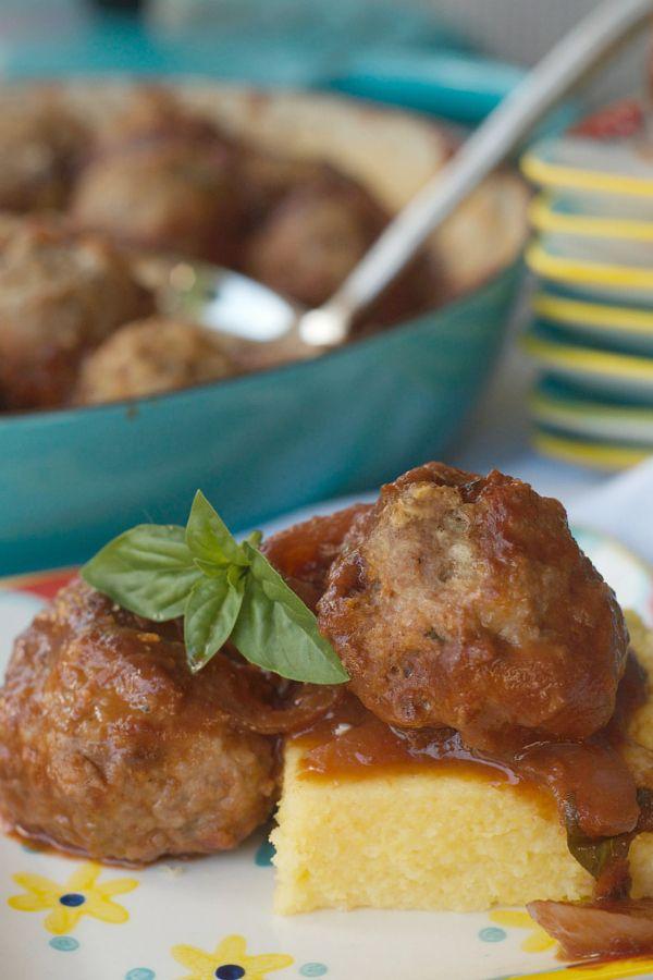Turkey Meatballs on Polenta | Recipe | Turkey meatballs, Baked turkey ...