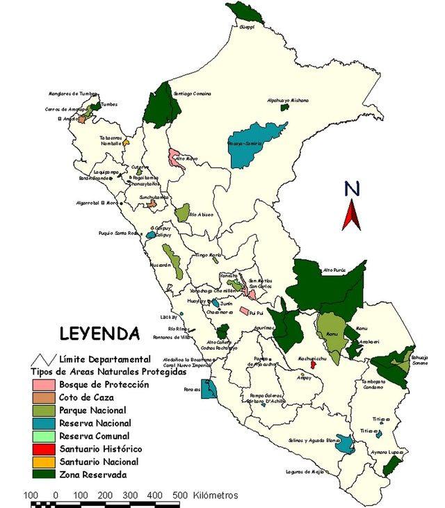 Mapas del Perú: turismo: Areas protegidas del Peru
