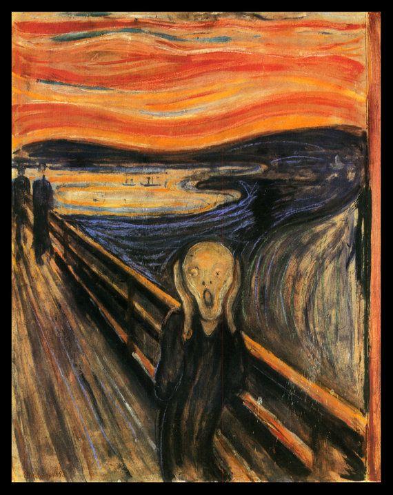 Edvard Munch - De Schreeuw (1893) Wereldberoemd kunstwerk. Mooi en toont de angst die een persoon kan voelen