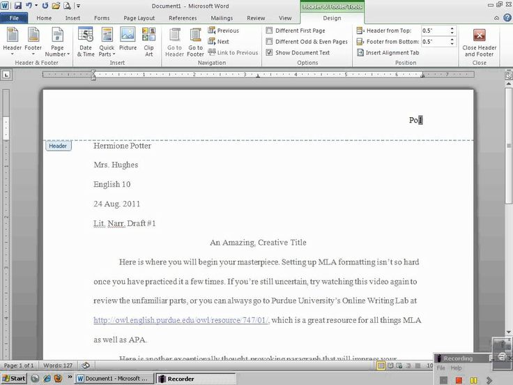 u0026quot setting up mla header with microsoft word 2010