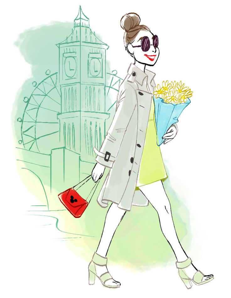 London-inspired Disney style | Gabby Zapata fashion illustration | [ http://di.sn/6001BNwKh ]