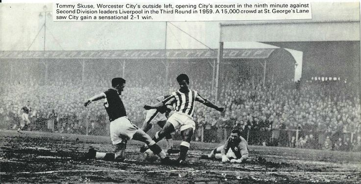 Worcester City 2 Liverpool 1 in Jan 1959 at St George's Lane. Tommy Skuse scores for Worcester in the FA Cup 3rd Round.