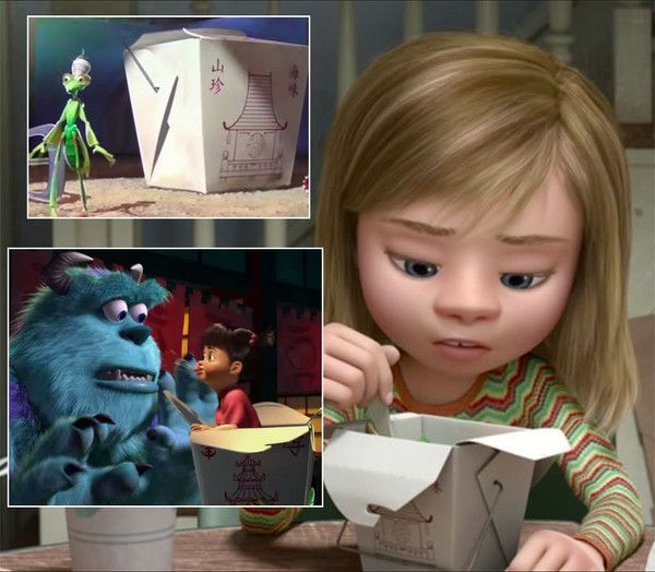 'Inside Out' Easter Eggs Revealed -  The Pixar animators like to use the same Chinese food carton throughout their movies. In Inside Out, Riley can be seen eating from the same Chinese food carton you can find in A Bug's Life and in Monsters, Inc.