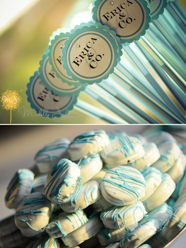 Tiffany blue pixie stix signs and cookies #candeebysandee , #michellejohnsonphotography #classictouchevents